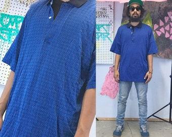 Vintage polo shirt slazenger blue 1990s 1980s 90s 80s all over print size large