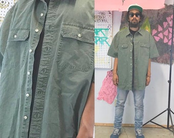 Vintage khaki shirt green workwear shirt safari 1990s 1980s ll bean
