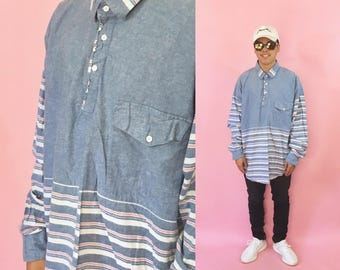Vintage western shirt roper 1990s 1980s 90s 80s blue shirt size Large blue shirt