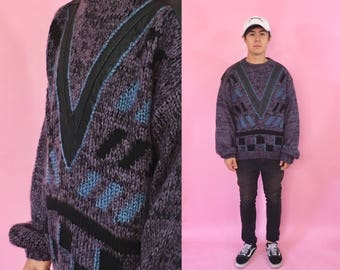 Vintage knit sweater coogi cross colours cosby sweater purple black vneck 1990s 1980s 90s 80s