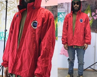 Vintage red parka jacket ll bean wwf animals size XL 1990's 1980's 90s 80s