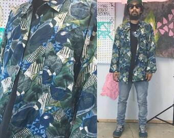 Vintage silk shirt 1980's 1990s blue green all over print loud print long sleeve