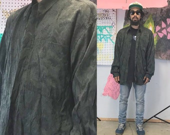 Vintage all over print shirt green long sleeve embossed italian shirt new jack city new jack swing size XL