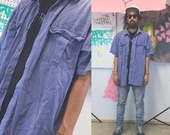 Vintage denim shirt short sleeve summer shirt 1990's grunge 90s 80s blue size xl