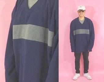 Vintage fleece sweatshirt fleece vneck the gap old navy 1990s 1980s y2k mid 90's skater grunge baggy jnco