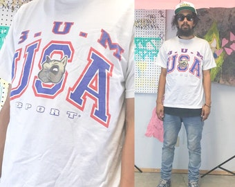 Vintage bum equipment shirt bog bulldog size large college tshirt