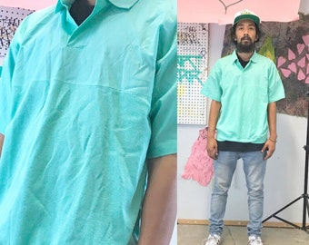 Vintage polo shirt mint green casual shirt summer shirt size large 1990s 1980s