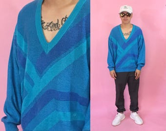 Vintage v-neck sweater vintage sweater knit sweater blue 1990s 1980s 90s 80s blue coogi cosby