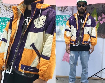 Vintage 1980's ski jacket made in japan yellow purple 90s 80s neon puffer coat