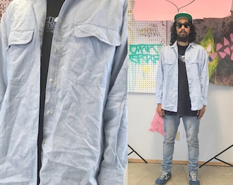 Vintage denim shirt short sleeve early 1990s 1980s saved by the bell