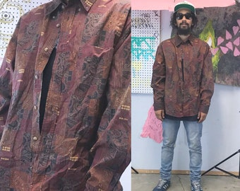 Vintage paisley print shirt 1990s 1980s all over print red orange size xl paisley
