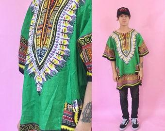 Vintage dashiki green kente african print shirt 1990s 1980s 90s 80s