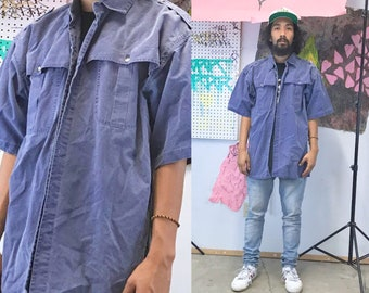 Vintage cotton shirt blue 1990s 1980s workwear hunting denim