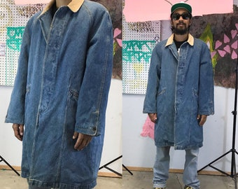 Vintage jean denim trench ranch coat pea coat 1990s 1980 size medium corduroy collar