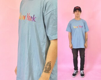Vintage tshirt new york city tourist shirt big apple baby blue 1990s 1980s 90s 80s medium