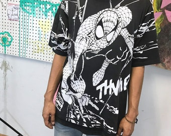 Vintage spiderman t-shirt all over print spiderman 1990s 1980s 90s 80s black white size xl