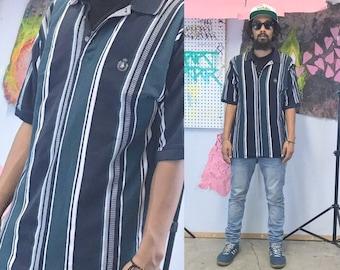 Vintage striped polo shirt blue black 1990s 1980s hip hop chaps size large