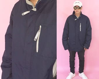 Vintage nautica jacket puffer puffy jacket vintage windbreaker blue jacket raincoat 1990s 1980s 90s 80s