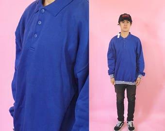 Vintage sweatshirt blue sweater 1990s 1980s 90s 80s sweatshirt streetwear hip hop sweats