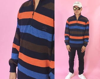 Vintage striped sweater pullover quarter zip Paul and Shark knit sweater made in Italy 1990s 1980s 90s 80s striped