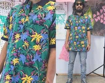 Vintage polo shirt floral hawaiian blue yellow 1990s 1980s size large