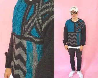 Vintage knit sweater teal black blue art coogi cosby warhol picasso abstract all over print 1990s 1980s 90s 80s