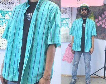 Vintage striped shirt casual shirt summer short sleeve mint green striped 1990s 1980s