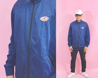 Vintage windbreaker lotto soccer blue windbreaker track jacket 1990s 1980s 90s 80s