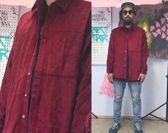 Vintage corduroy shirt dkny maroon burgundy 1990s 1980s size small