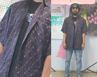 Vintage silk shirt loud print all over print size small 1990s 1980s 90s 80s