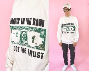 Vintage joe montana white sweatshirt graphic 1980s 1990s cotton jumper sweater