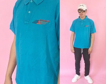 Vintage polo shirt le coq sportif blue polo 1990s 1980s 90s 80s vintage shirt fila blue shirt size medium