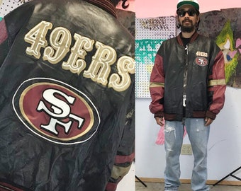 Vintage leather varsity jacket san francisco 49ers 1990s 1980s 90s 80s black red