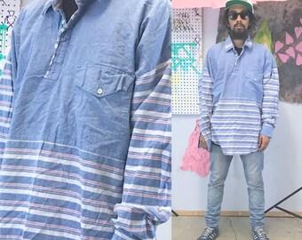 Vintage roper shirt denim shirt white 1990s 1980s colorblock western streetwear size xl