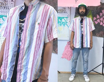 Vintage striped shirt duckhead summer short sleeve 1990s 1980s pink white