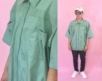 Vintage polo shirt size xl green shirt 1990s 1980s 90s 80s grandpa shirt dad shirt