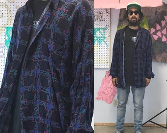 Vintage rayon shirt all over print loud print shirt crazy shirt silk shirt fresh prince 1990s 1980s 90s
