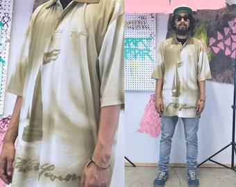 Vintage y2k phat farm shirt tan all over print loud print shirt baggy oversized xl