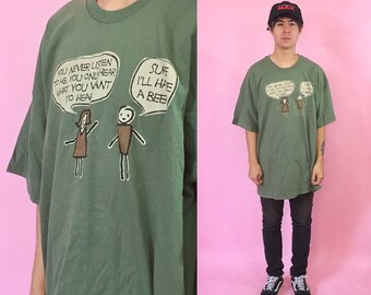 Vintage tshirt green graphic tshirt 1990s 1980s 90s 80s comic funny cartoon