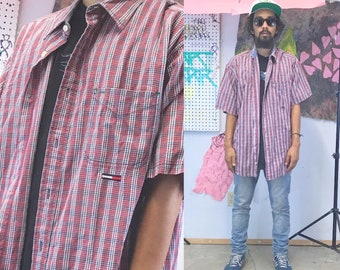 Vintage tommy jeans plaid shirt short sleeve late 90s baggy skater 1990s