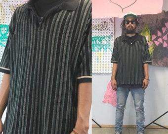 Vintage striped polo shirt le coq sportif 1990's black earth tones size xl