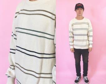 Vintage cream sweater sweatshirt knit sweater 1990s 1980s 90s 80s izod lacoste cream off white tan