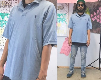 Vintage polo shirt ralph lauren baby blue 1990s size medium