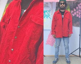 Vintage corduroy shirt size xl hunting hunter red shirt long sleeve