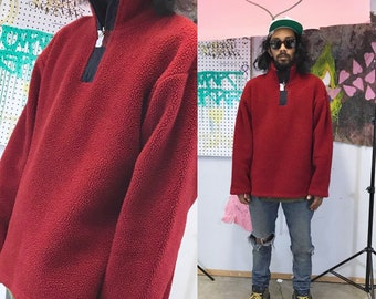Vintage tommy hilfiger red fleece quarter zip size medium y2k