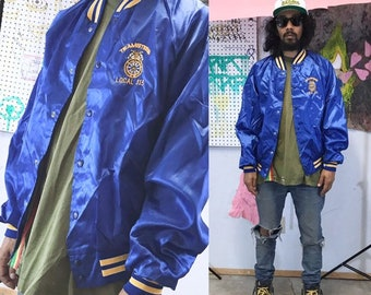 Vintage satin bomber jacket teamsters union blue gold size large