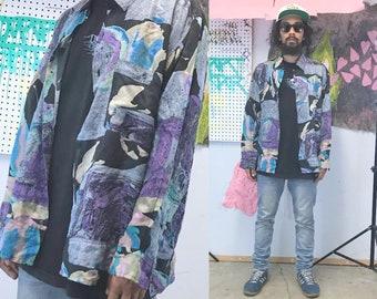 Vintage silk shirt long sleeve loud print shirt all over print fresh prince 1990s