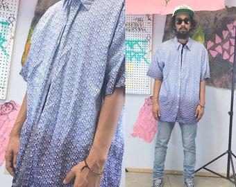 Vintage loud print shirt tommy hilfiger summer size XL all over print blue 1990s 1980s