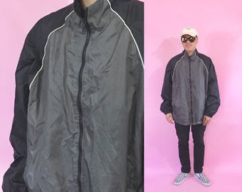 Vintage windbreaker jacket grey black jacket nylon 1990s 1980s 90s 80s