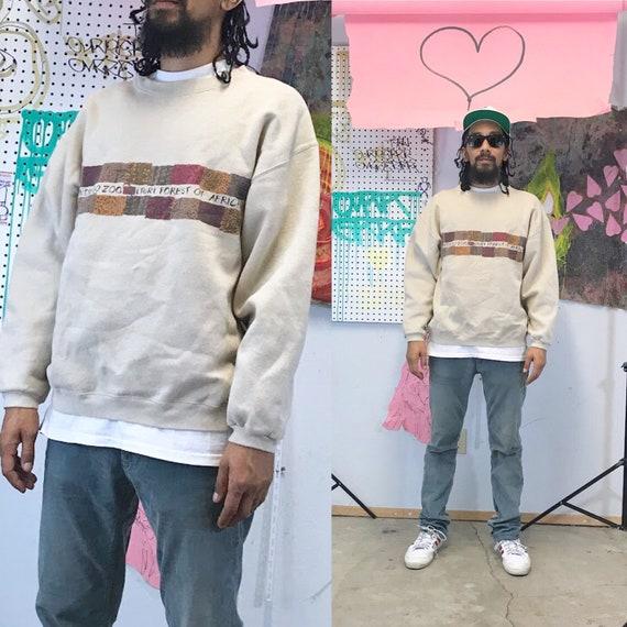 Vintage tan sweatshirt san diego zoo size large 1990s 1980s